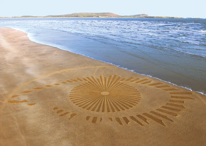 The Big Brother sand drawing was made on the beach at Cefn Sidan, Pembrey Court Park, Carmarenthenshire, Wales. It was sixty-five meters wide and took a crew of six people over six hours to construct. The window between high and low tide left only eight hours to build and photograph the drawing. The darker patterns in the wet sand were created by removing dry areas of sand.